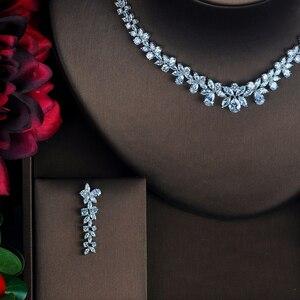 Image 2 - HIBRIDE Conjuntos de joyería femenina de circonia cúbica transparente con forma de flor, conjunto de collar y pendientes para regalos de fiesta de boda, N 217