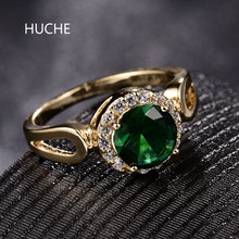 HUCHE Charming Green Crystal Zirconia Rings For Women Female Luxury Gold-Color Ring For Wedding Engagement Party Jewelry HYJR331