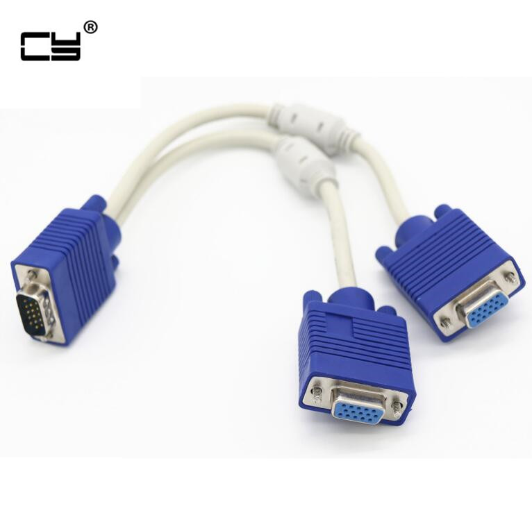 High Quality 1 Computer To Dual 2 Monitor Vga Splitter Cable Video Y Splitter 15 Pin Two Ports Vga Male To Female 30CM 1FT