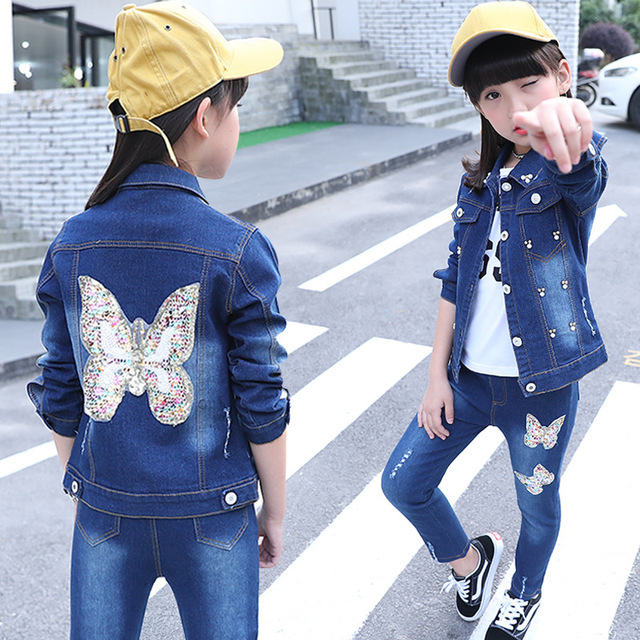 502077dfdef8 3 4 5 6 7 8 Years To Size 14 Juniors Children's Clothing Girls 2 Piece  Outfit Set Girls Denim Jeans Teenager Clothes Set