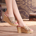Summer High Heel Sandals Female Slippers Lace Mesh Open Toe Wedges Shoes Platform Sy-2284