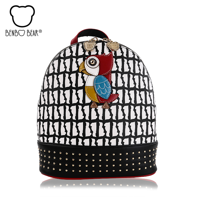 Cute Rivet Women Backpack 2017 College School travel Bags for Girls Fashion Woodpecker ladies female shoulder