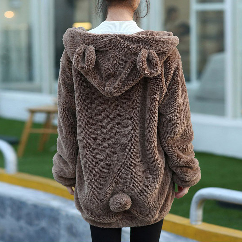 2019 Women Hoodies Zipper Girl Autumn Loose Kawaii Fluffy Bear Ear Hoodie Hooded Jacket Warm Outerwear Coat Cute Sweatshirts