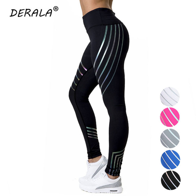 2018 Summer Stripe Reflective Push Up Fitness Legging Glow Shiny Workout  Leggings Woman Leggins Laser Pants c31d95efb