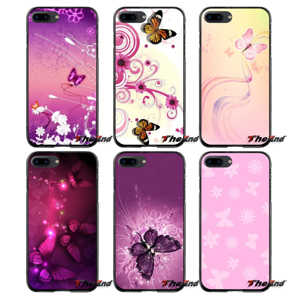 For Apple iPhone 4 4S 5 5S 5C SE 6 6S 7 8 Plus X iPod Touch 4 5 6 Pink Butterfly Accessories Phone Shell Covers