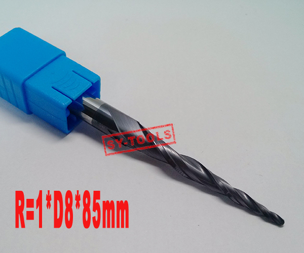Free shipping-1PCS R1.0*D8*45*85L*2F HRC55 Tungsten solid carbide Coated Tapered Ball Nose End Mills taper and cone endmills hrc55 r0 2 r0 5 r0 75 r1 0 r0 72 ball end carbide milling cutter tungsten solid steel alloy taper endmill free shipping