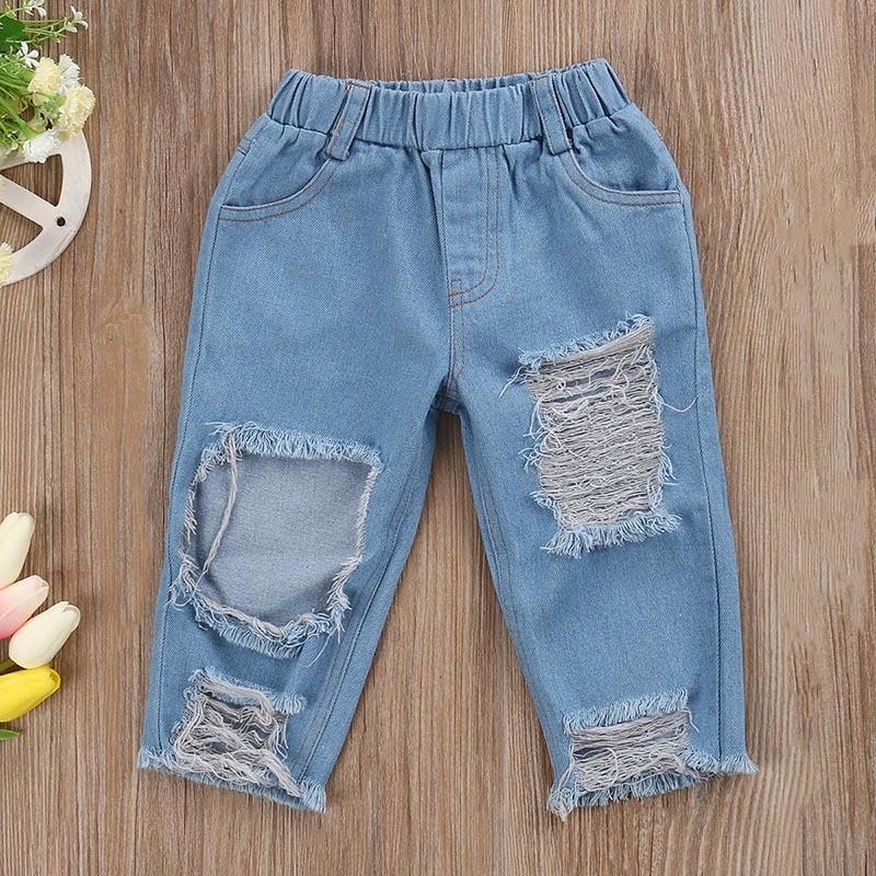 BogiWell 2018 Fashion Children Girls Clothes Off Shoulder Crop Tops White+ Hole Denim Pant Jean + Headband Set Toddler Clothing
