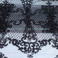 1 yard Black/ivory(Off-white) robin sequins on netting embroidered wedding/ evinging/show dress france lace fabric