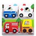 Envío libre de Los Niños de dibujos animados de bloques de madera sólida insectos/transporte/animales/mar/Escena bloques de construcción de juguetes regalos