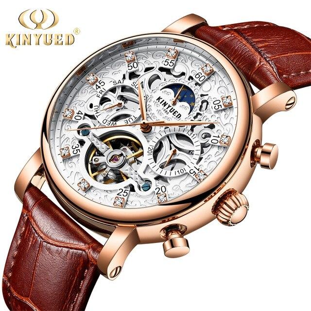 KINYUED Men Watch Automatic Moon Phase Calendar Tourbillon Mens Skeleton Mechanical Watches Gold Leather Military Wrist watch стоимость