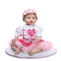 Princess 55cm 22inch Reborn Babies Silicone With Pink Flower Band On Head Very Fashion Silicone Baby