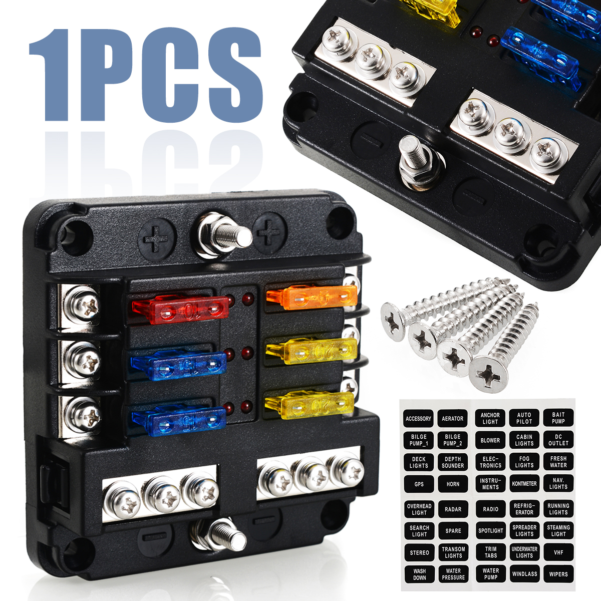 bus fuse box 6 way blade fuse holder box block case 12v 24v car truck marine bus bar fuse box 6 way blade fuse holder box block case
