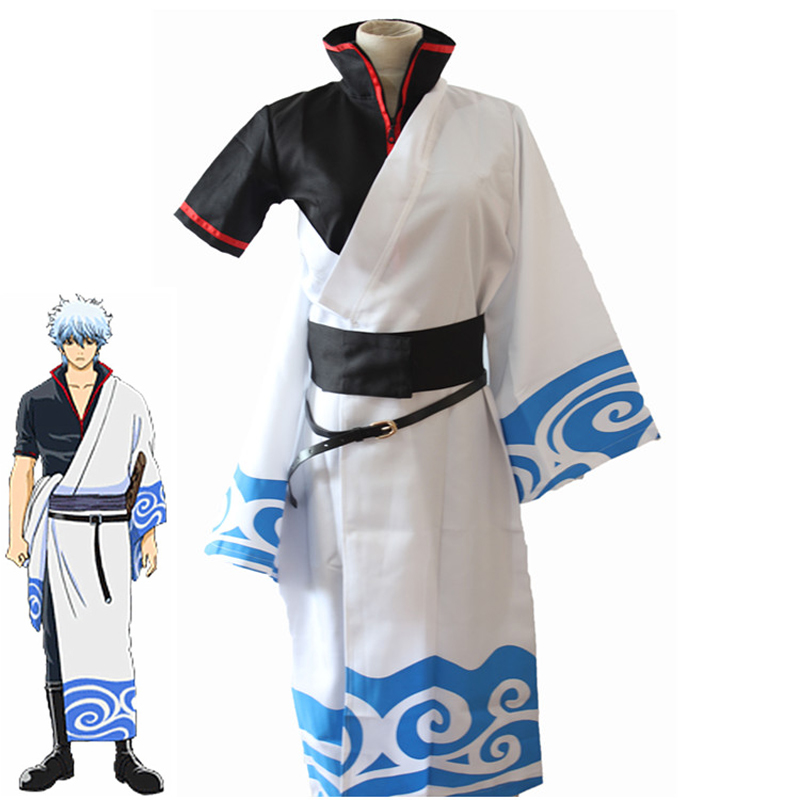 Eraspooky Gintama Costume Sakata Gintoki Cosplay Japan Anime Cosplay Wig Game Cosplay Adult Coat Pant Belt Set Carnival Costume