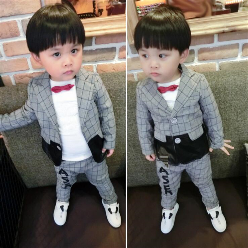 2pcs/Set Boys Suits for Party Wedding Gray Polid B