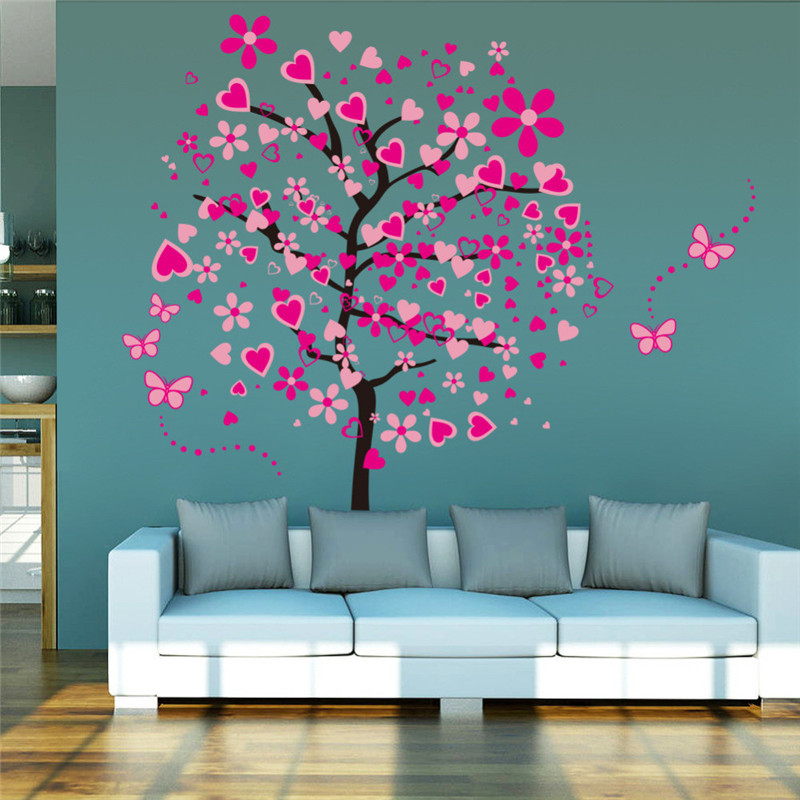 Beautiful DIY Large Wallpaper For Pink Butterfly Flower Tree Painting Living Room Bedroom Backdrop Decor Wall Stickers 60*90*2cm diy beads painting flower cross stitch wall decoration