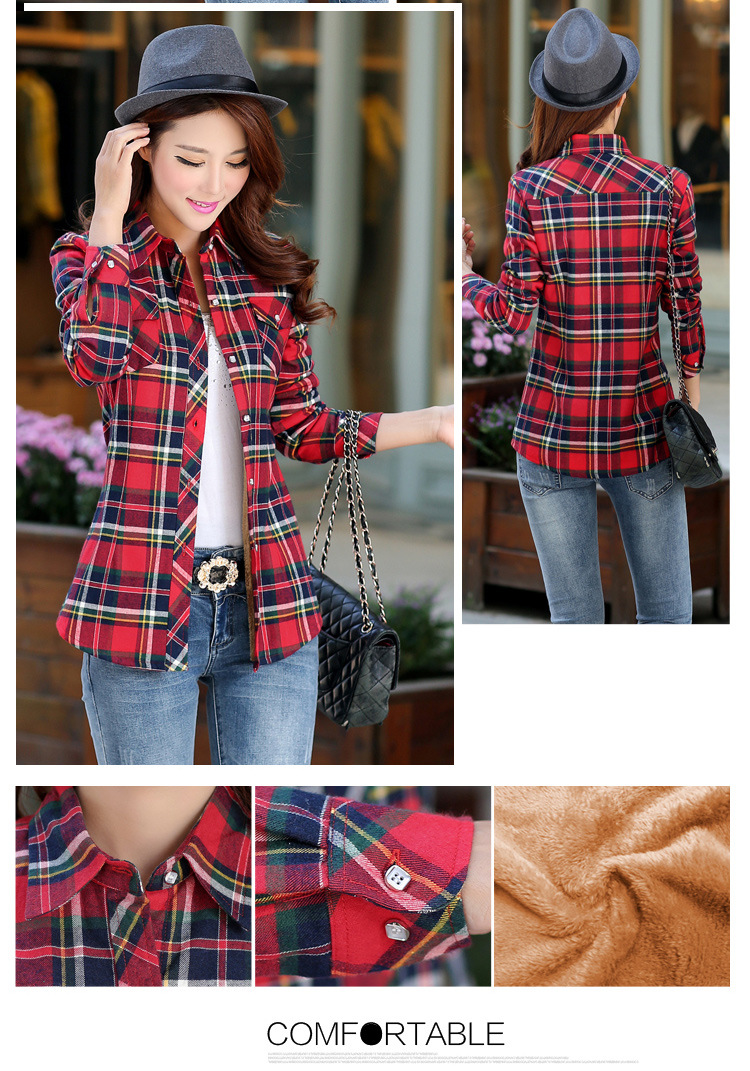 19 Brand New Winter Warm Women Velvet Thicker Jacket Plaid Shirt Style Coat Female College Style Casual Jacket Outerwear 6