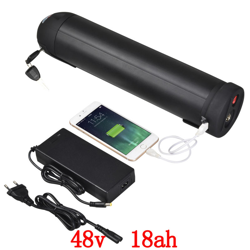 EU US no tax 48V Bottle battery 500W 48V 18AH Lithium ion Battery 48V 17.5AH use for SANYO 3500mah cell with 2A Charger Free free customs taxes super power 1000w 48v li ion battery pack with 30a bms 48v 15ah lithium battery pack for panasonic cell