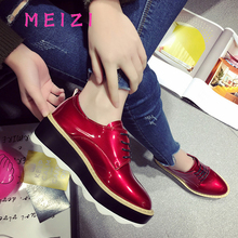 MEIZI Women Flats Leather Shoes For Women Designer Casual Flat Shoes Round Toe New Female Lace-Up Spring Footwear Flats
