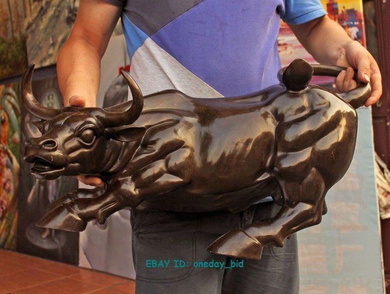 Grande grande taille géante en Bronze couleur café Wall Street Bull OX Statue Sculpture 25