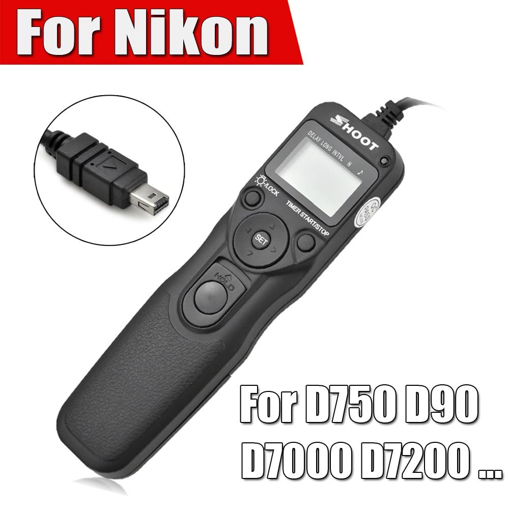Shoot Timer Control remoto Lanzamiento de obturador intervalómetro del cable para Nikon d750 d7100 D7000 D5100 d5200 D5000 d90 d3200 d3100