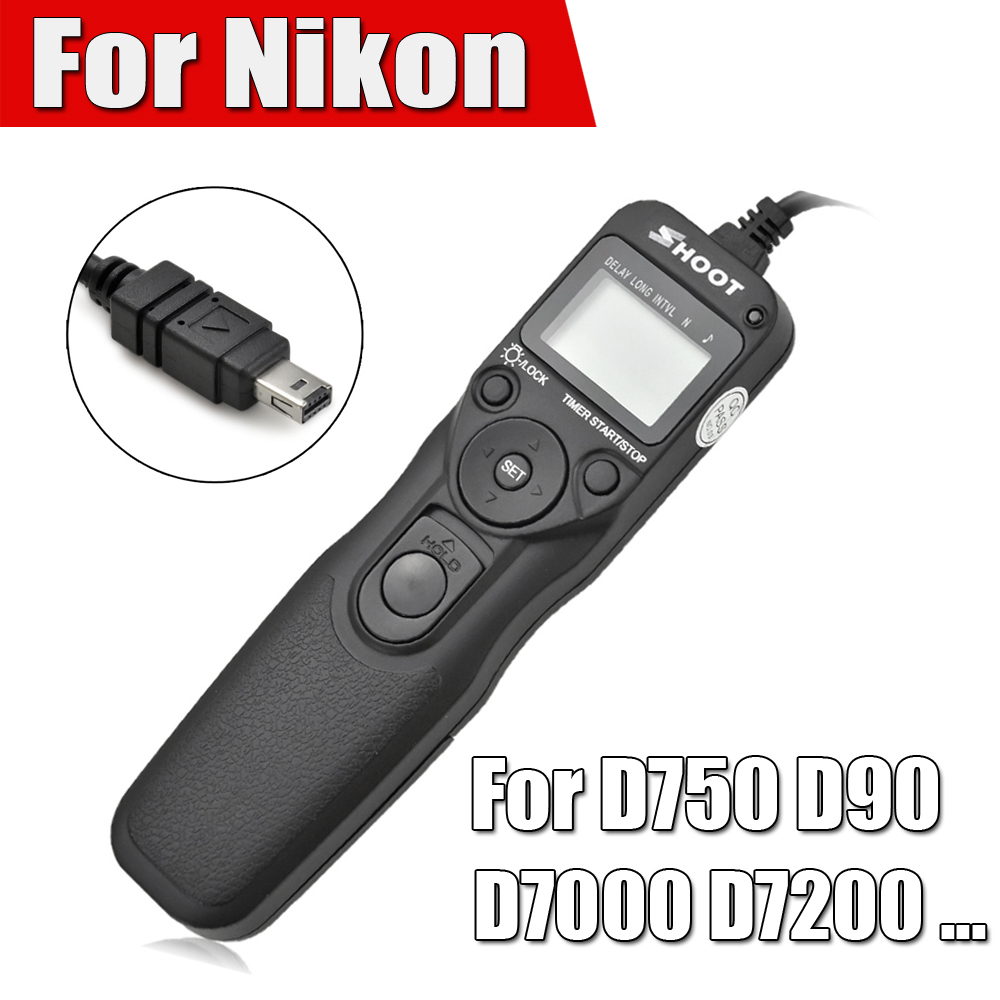 Shoot Timer Remote Control Shutter Release Cable Intervalometer for Nikon D750 D7100 D7000 D5100 D5200 D5000 D90 D3200 D3100 i ttl wireless flash trigger for nikon sb910 sb900 sb700 remote control shutter release cord cable for d5000 d5100 d90 camera