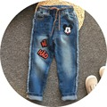 Free Shipping 5pcs/lot 2017 Spring Model Mickey Embroidered Jeans for 3-10yrs Girls and Boys