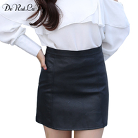 DeRuiLaDy Women Sexy Autumn Leather Skirt Fashion High Waist Casual Black Slim Mini Skirts