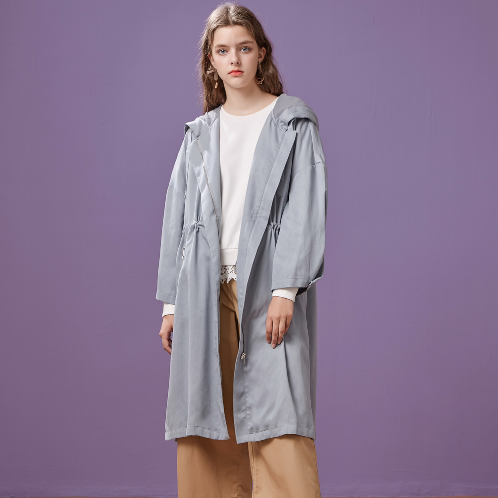 Metersbonwe brand women's mid-length   trench   coat, simple hooded coat, loose bf top coat