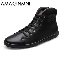 AMAGINMNI Big Size Men Shoes Fashion Black Men Boots Pointed Toe Genuine Leather Hording Riding Boots