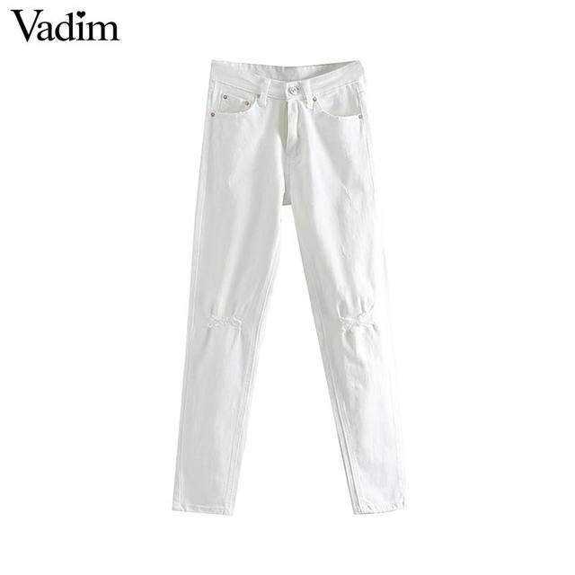 Vadim נשים לבן ג 'ינס ג' ינס חורי כיסי שיק ישר רוכסן לטוס מכנסיים נקבה מוצק קרסול אורך מכנסיים pantalones KA827