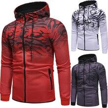 89932a01bf915 Wiosna i jesień męska sweter na co dzień sportowa bluza z kapturem bluzy z  kapturem w paski 3D gradientu top dla mężczyzn