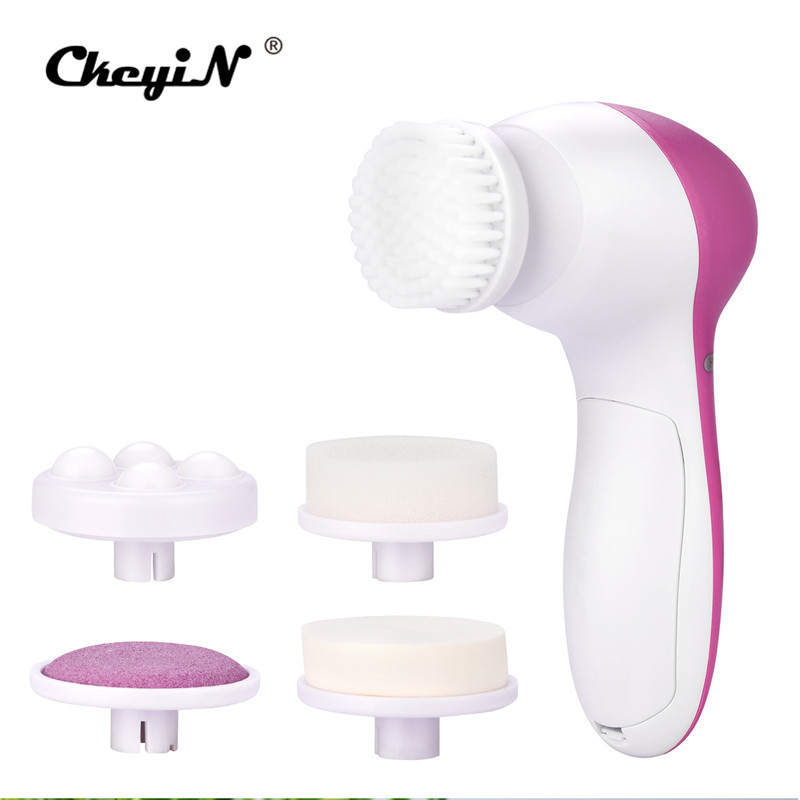 5 in 1 Electric Face Brush Machine Facial Massager Body Cleaning Brush Face Pore Cleaner Skin Care Tool Beauty Massager philbaby electric wash face machine facial pore cleaner body cleaning massage mini skin beauty massager brush