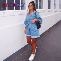 PinePear New 2019 Summer Playsuit Women Fashion Half Sleeve Short Jeans Jumpsuit Single Breasted Loose Denim Overalls Plus Size