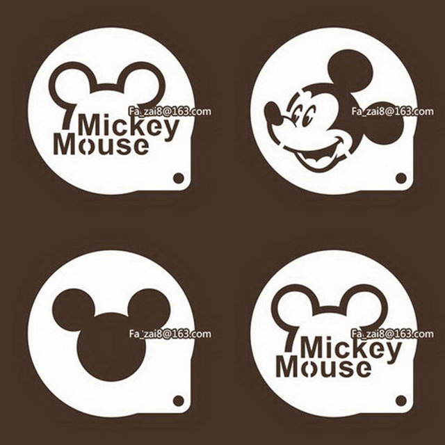 4pcs I Love You Mickey Mouse Cupcake Spray Mold Fondant Cake Sugar Powder Mould Tiramisu Stencils