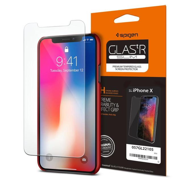 the best attitude eb842 f72f8 US $16.99 |100% Original SPIGEN Glas.tR Slim Tempered Glass Screen  Protector for iPhone XS / iPhone X-in Phone Screen Protectors from  Cellphones & ...