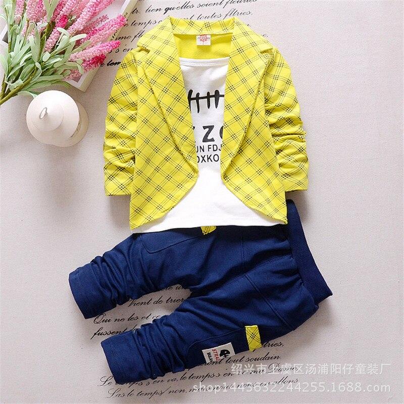 Děti Boy Oblečení Věk 1-4 roky Jaro Podzim Falešný Tři Plaid Neformální Obleky Sady pro Baby Chlapci Dvoudílné Oblečení CLS067