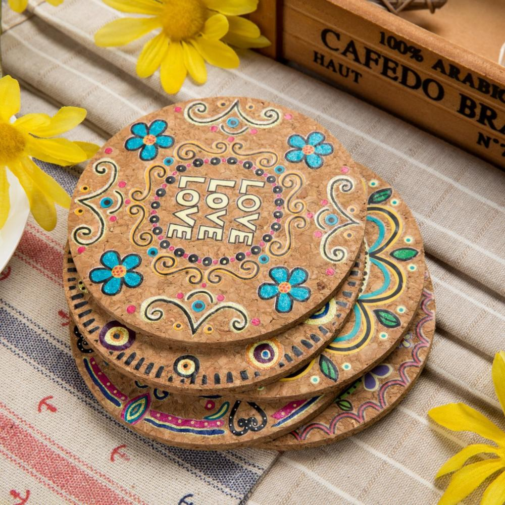 4 Pcs Natural Cork Round Cup Mat Moisture Resistant Drink Coasters Heat Insulation Patterned Home Kitchen Accessories