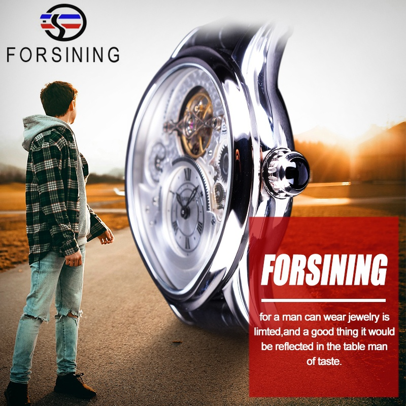 Forsining Mens Watch Waterproof Leather Band Watch Mens Luxury GiftForsining Mens Watch Waterproof Leather Band Watch Mens Luxury Gift