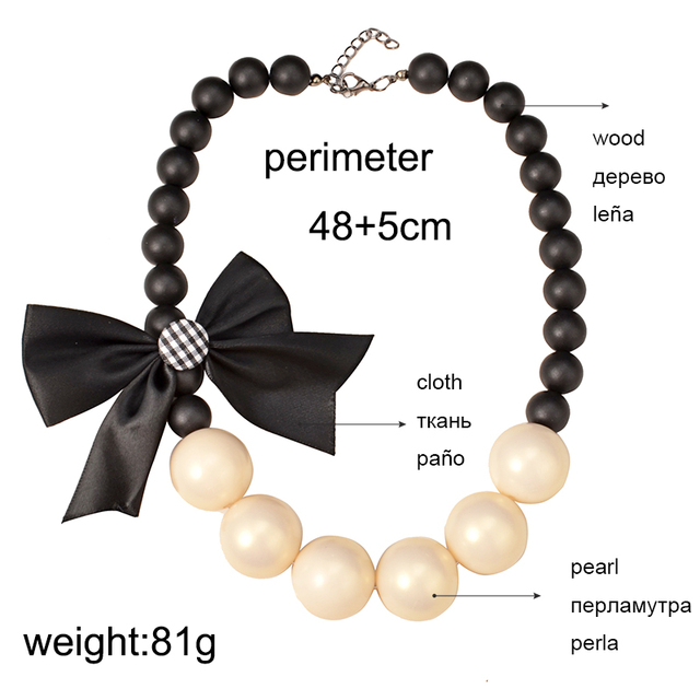 Chunky wood chain big simulated pearl jewelry ribbon flower necklace  5