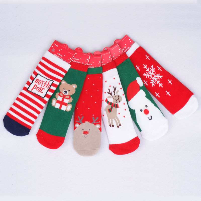 0-24Month Cotton Baby Socks Christmas Design Baby Girls Socks Cartoon Casual Baby Boy Children's Christmas Socks 6 Style