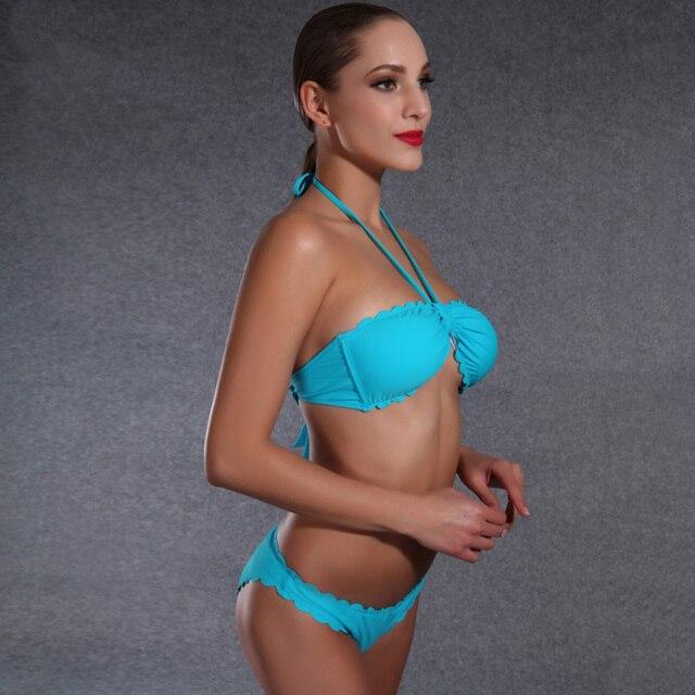 5654a8c3527 Newest Unique Ruffle design Brazilian Low Waist Bikini Halter Super Sexy  bikinis set High quality swimwear women bathing suits