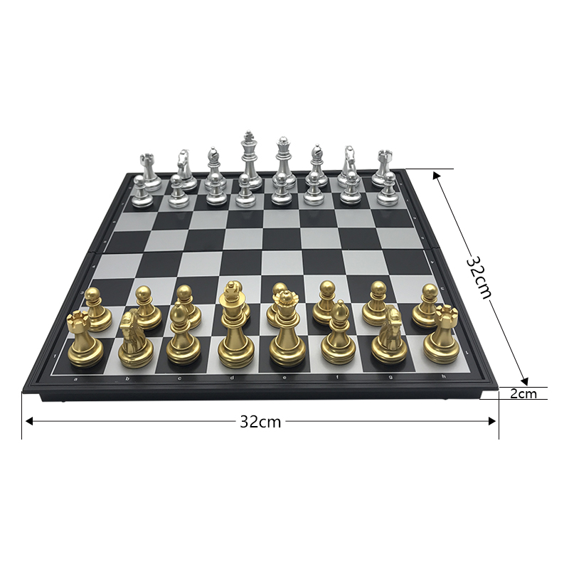 Chess set For High quality Chess Game Pieces Chess Magnetic Board Folding Plate Large Gold Silver Magnetic Reinforcement Yernea 2