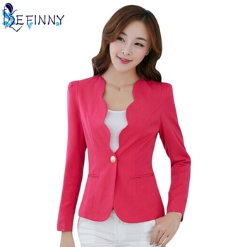 New Female Formal Solid Color Single Button Slim Fashion Office Business Suit Casual Jacket Women Coat Outwear Top