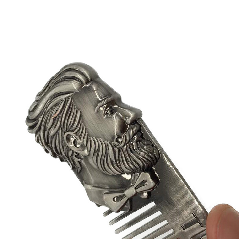 1pc Stainless Steel Men's Beard Styling Template Comb Shaping Brush Tool Beard Comb Template Grooming Kit Facial Hair Trimmer 2