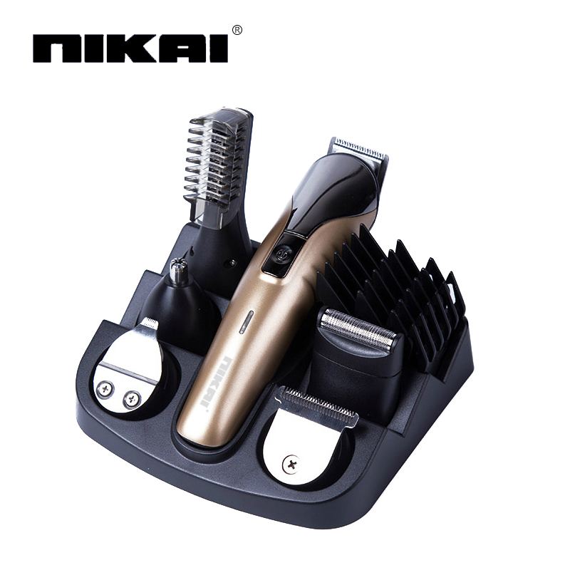 6 in1 electric titanium hair cutting machine rechargeable hair clipper hair trimmer beard. Black Bedroom Furniture Sets. Home Design Ideas