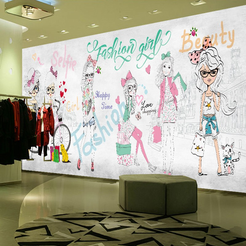 Custom photo wallpaper Hand painted fashion girl mural custom clothing store shopping ce ...