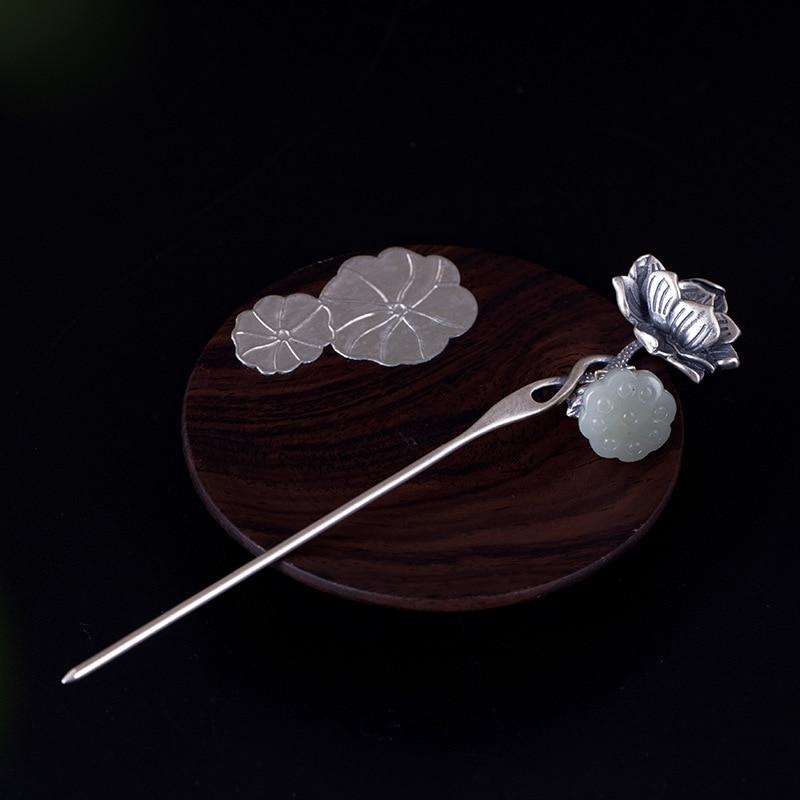 925 Sterling Silber Jade Blume Haar Klebt Silber Handgemachte Natürliche Jade Vintage Palace Hairwear Für Frauen Hochzeit Schmuck Geschenk