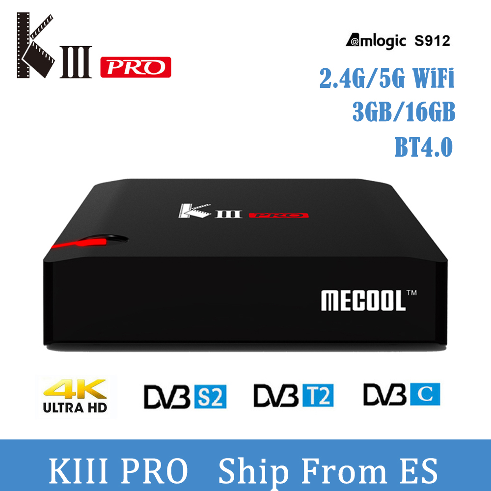 MECOOL KIII Pro Android 7.1 Tv Box DVB-T2 DVB-S2 DVB-C Amlogic S912 3G 16G 4K BT4.0 2.4G/5G WiFi VR9 Support Cccam Media Player цена