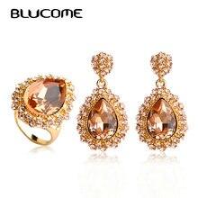 Blucome Fashion Waterdrop Rhinestone Dubai Jewelry Sets Dangle Drop Earring Ring Set Wedding Bridal Women Accessories Bijoux
