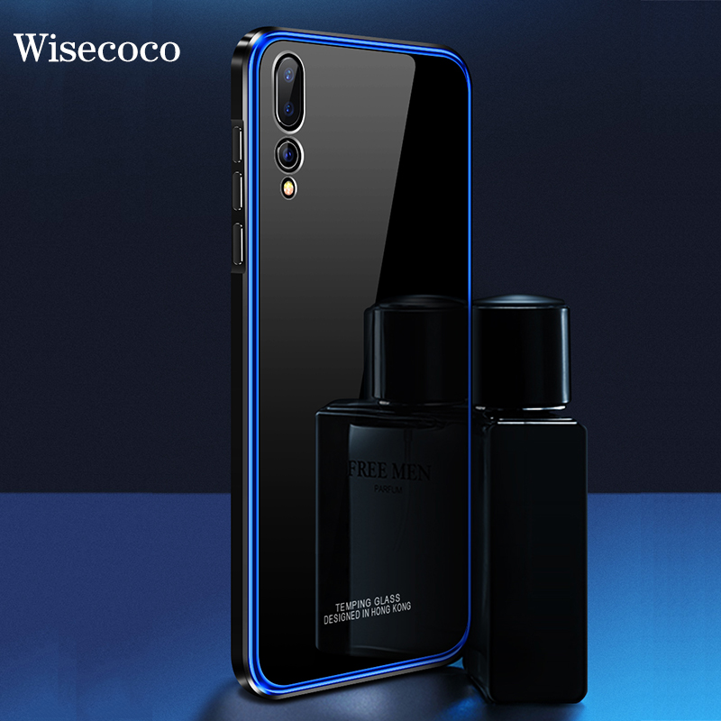Metal Bumper Case For huawei p20 pro Luxury Plating Frame Hard Clear Tempered Glass Mirror Thin Cover hawei p20 pro phone case iPhone XS
